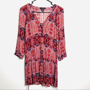 Forever 21 Red Boho Printed Dress Size Small